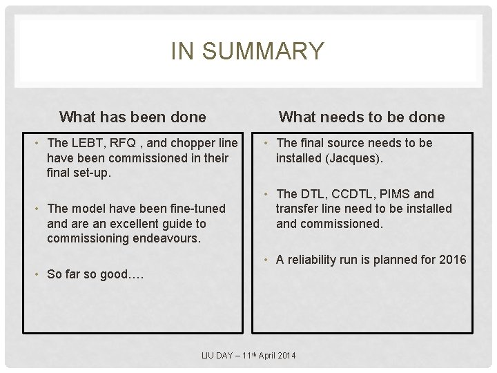 IN SUMMARY What has been done • The LEBT, RFQ , and chopper line