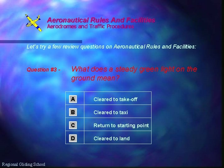 Aeronautical Rules And Facilities Aerodromes and Traffic Procedures Let's try a few review questions