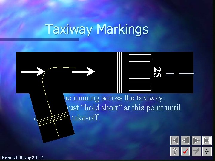 Taxiway Markings n Taxiway Centerline: 25 – yellow line used as a guide to