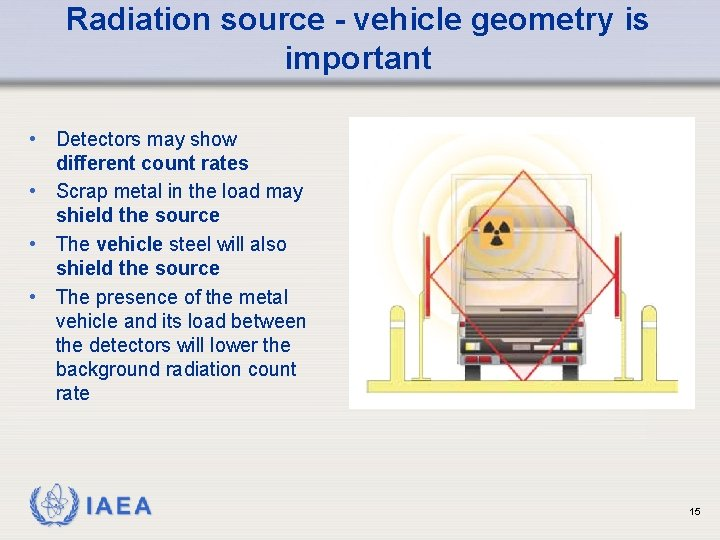 Radiation source - vehicle geometry is important • Detectors may show different count rates