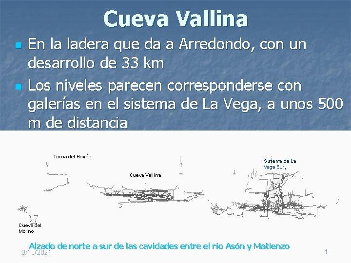 Cueva Vallina n n En la ladera que da a Arredondo, con un desarrollo