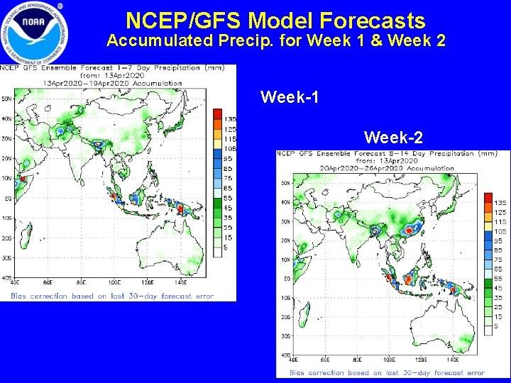 NCEP/GFS Model Forecasts Accumulated Precip. for Week 1 & Week 2 Week-1 Week-2 8