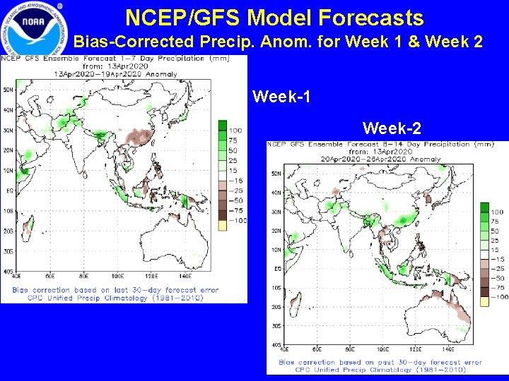 NCEP/GFS Model Forecasts Bias-Corrected Precip. Anom. for Week 1 & Week 2 Week-1 Week-2