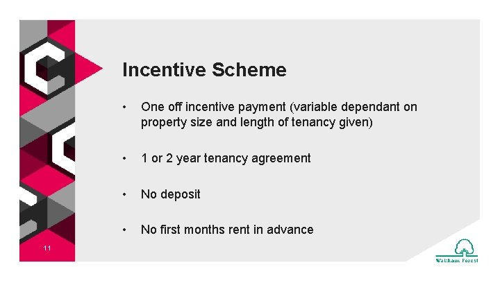Incentive Scheme 11 • One off incentive payment (variable dependant on property size and