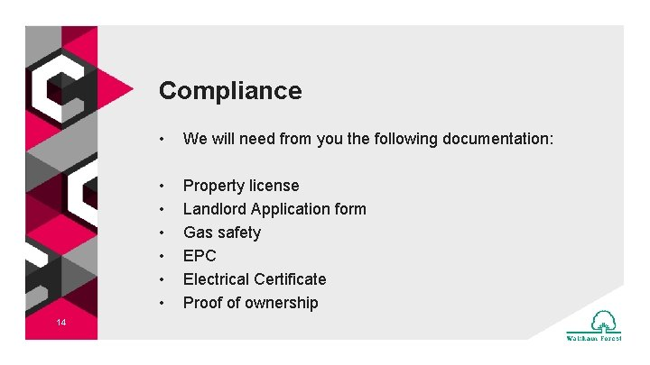 Compliance 14 • We will need from you the following documentation: • • •