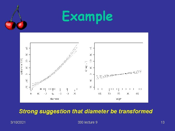 Example Strong suggestion that diameter be transformed 3/10/2021 330 lecture 9 13