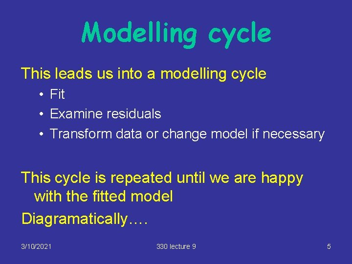 Modelling cycle This leads us into a modelling cycle • Fit • Examine residuals