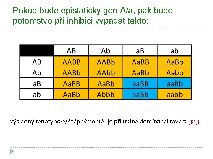 Pokud bude epistatický gen A/a, pak bude potomstvo při inhibici vypadat takto: Výsledný fenotypový