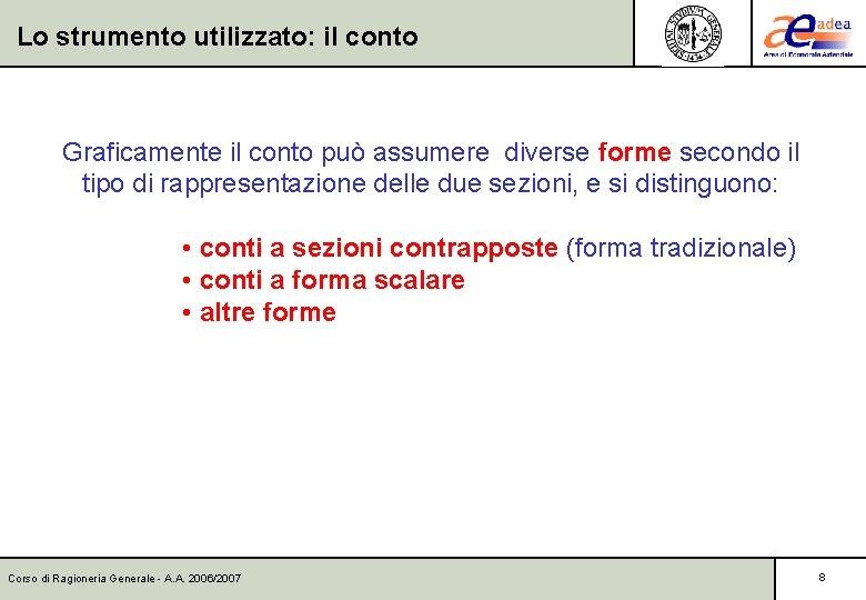 Lo strumento utilizzato: il conto Graficamente il conto può assumere diverse forme secondo il
