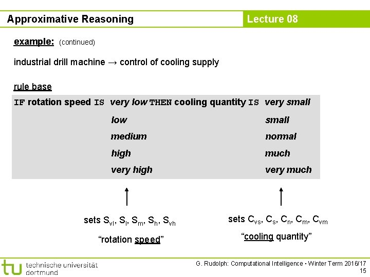 Approximative Reasoning example: Lecture 08 (continued) industrial drill machine → control of cooling supply