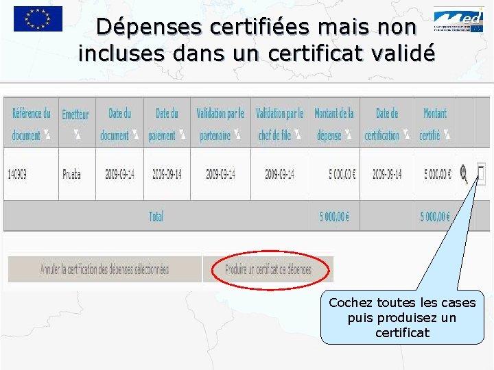 Dépenses certifiées mais non incluses dans un certificat validé Cochez toutes les cases puis