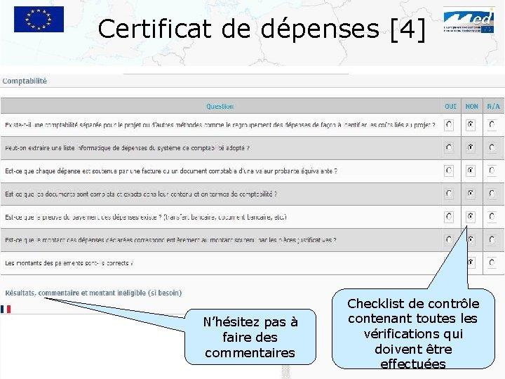 Certificat de dépenses [4] N'hésitez pas à faire des commentaires Checklist de contrôle contenant