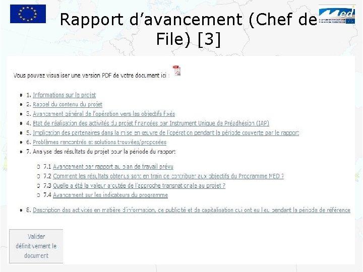 Rapport d'avancement (Chef de File) [3]