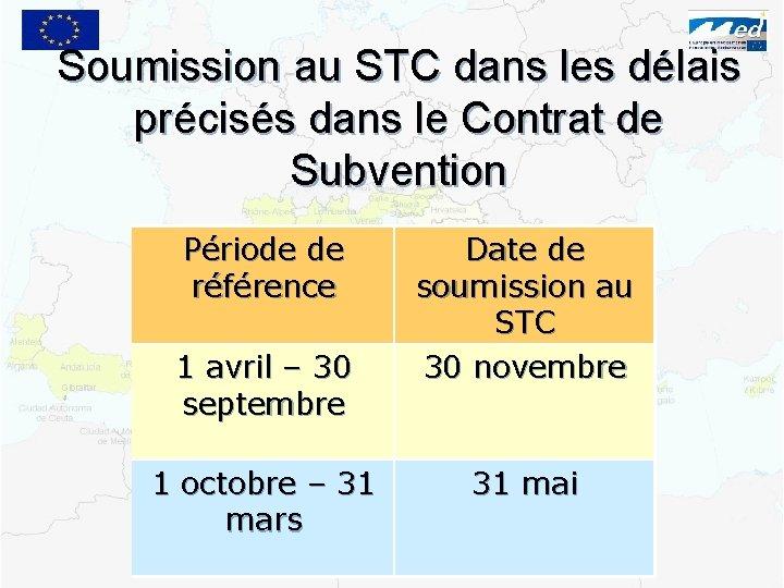 Soumission au STC dans les délais précisés dans le Contrat de Subvention Période de