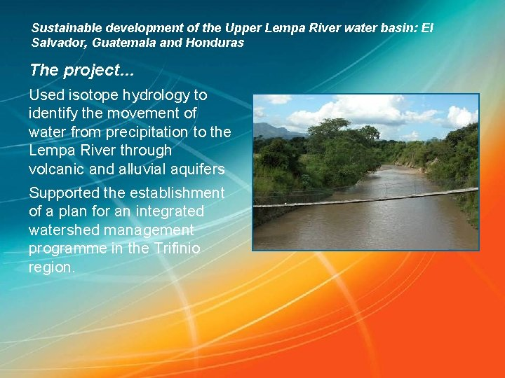 Sustainable development of the Upper Lempa River water basin: El Salvador, Guatemala and Honduras