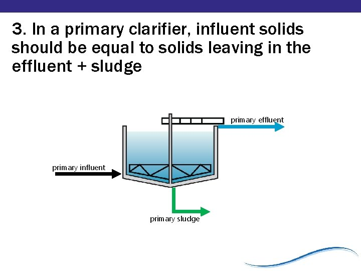 3. In a primary clarifier, influent solids should be equal to solids leaving in