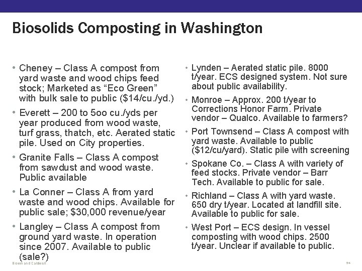 Biosolids Composting in Washington • Cheney – Class A compost from yard waste and