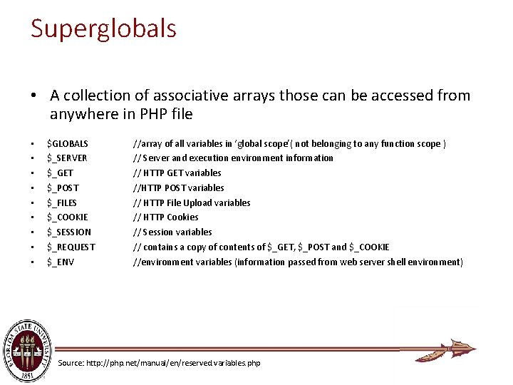 Superglobals • A collection of associative arrays those can be accessed from anywhere in