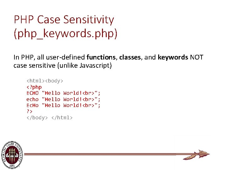 PHP Case Sensitivity (php_keywords. php) In PHP, all user-defined functions, classes, and keywords NOT