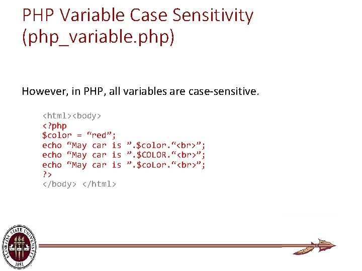 PHP Variable Case Sensitivity (php_variable. php) However, in PHP, all variables are case-sensitive. <html><body>