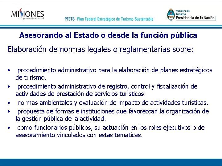 Asesorando al Estado o desde la función pública Elaboración de normas legales o reglamentarias