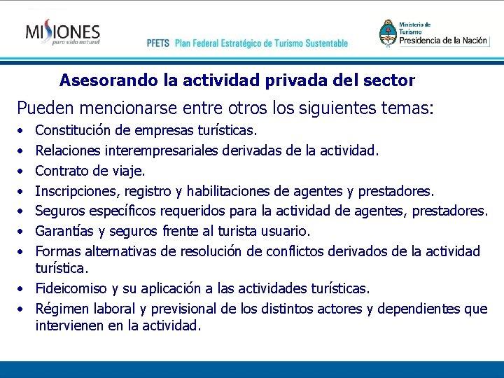 Asesorando la actividad privada del sector Pueden mencionarse entre otros los siguientes temas: •