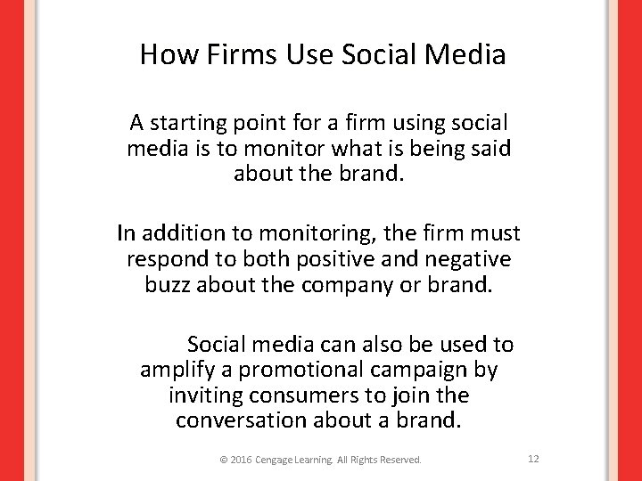 How Firms Use Social Media A starting point for a firm using social media