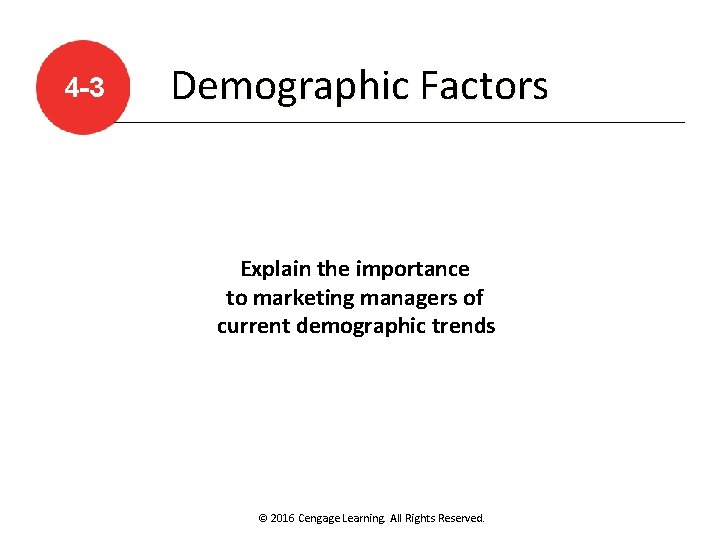 4 -3 Demographic Factors Explain the importance to marketing managers of current demographic trends