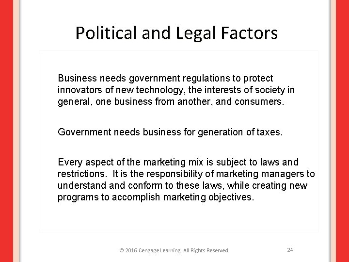 Political and Legal Factors Business needs government regulations to protect innovators of new technology,