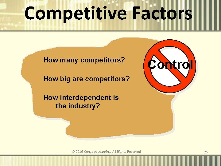 Competitive Factors How many competitors? Control How big are competitors? How interdependent is the