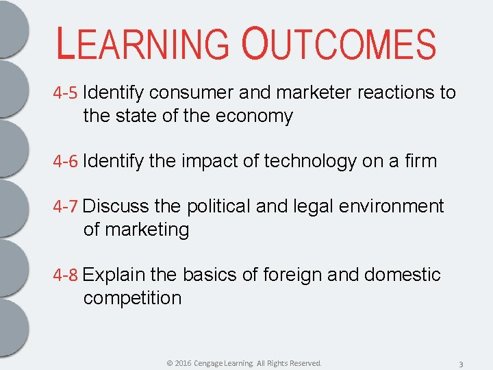 LEARNING OUTCOMES 4 -5 Identify consumer and marketer reactions to the state of the