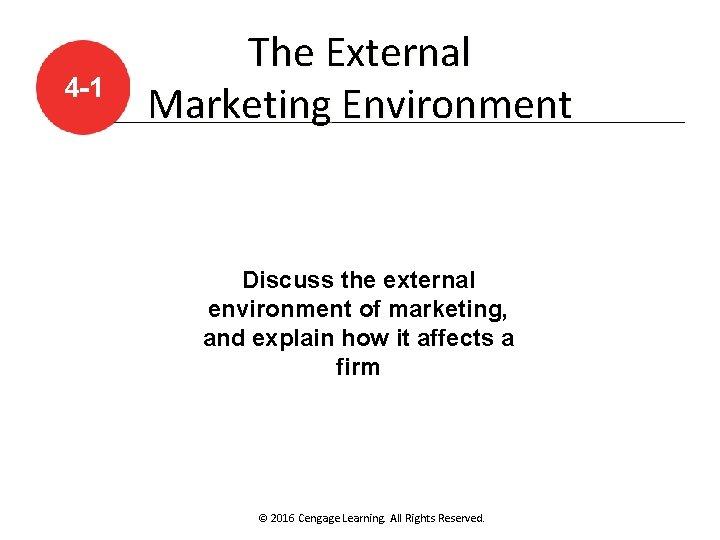 4 -1 The External Marketing Environment Discuss the external environment of marketing, and explain