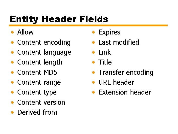 Entity Header Fields • • • Allow Content encoding Content language Content length Content