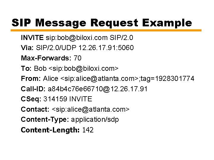 SIP Message Request Example INVITE sip: bob@biloxi. com SIP/2. 0 Via: SIP/2. 0/UDP 12.