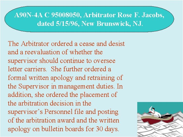 A 90 N-4 A C 95008050, Arbitrator Rose F. Jacobs, dated 5/15/96, New Brunswick,