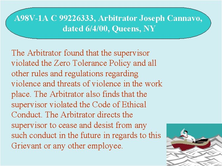 A 98 V-1 A C 99226333, Arbitrator Joseph Cannavo, dated 6/4/00, Queens, NY The