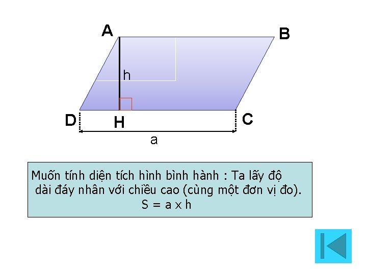 A B h D C H a Muốn tính diện tích hình bình hành