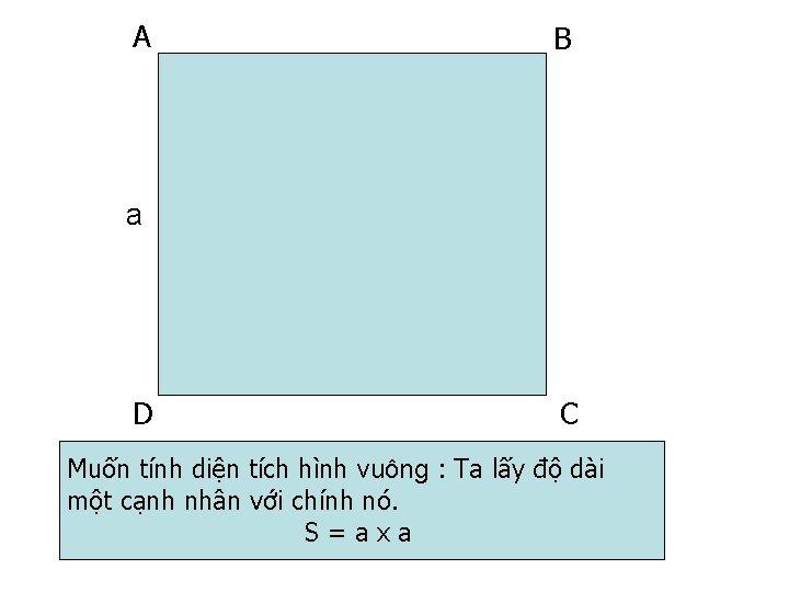A B a D C Muốn tính diện tích hình vuông : Ta lấy