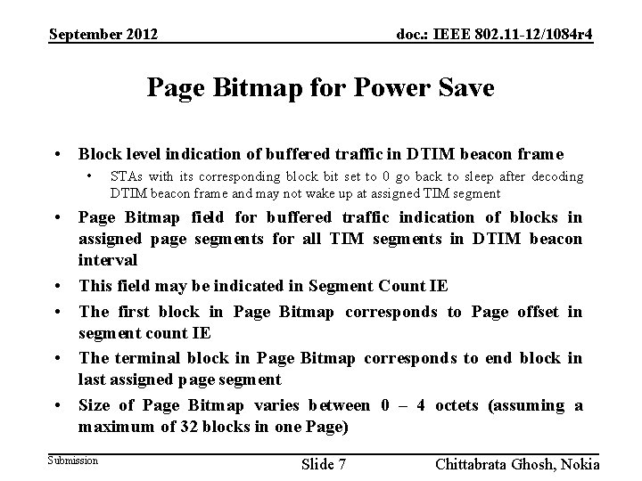 September 2012 doc. : IEEE 802. 11 -12/1084 r 4 Page Bitmap for Power