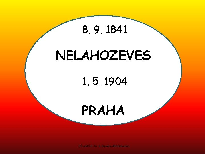 8. 9. 1841 NELAHOZEVES 1. 5. 1904 PRAHA ZŠ a MŠ tř. Dr. E.