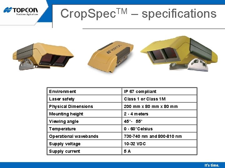 Crop. Spec. TM – specifications Environment IP 67 compliant Laser safety Class 1 or