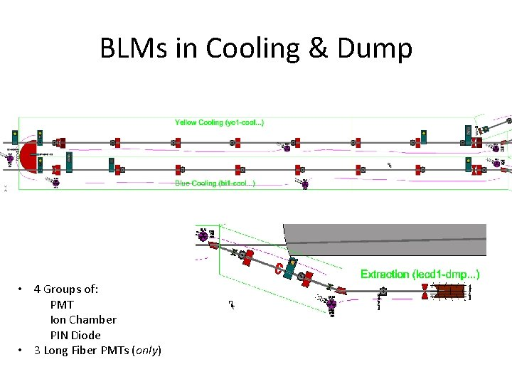 BLMs in Cooling & Dump • 4 Groups of: PMT Ion Chamber PIN Diode