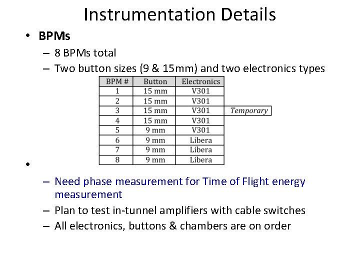 Instrumentation Details • BPMs – 8 BPMs total – Two button sizes (9 &