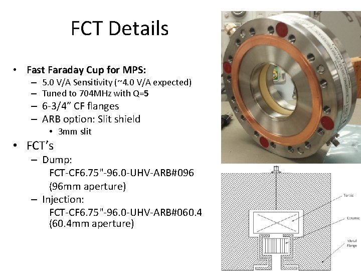 FCT Details • Fast Faraday Cup for MPS: – 5. 0 V/A Sensitivity (~4.