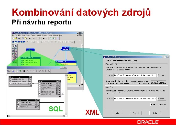 Kombinování datových zdrojů Při návrhu reportu SQL XML