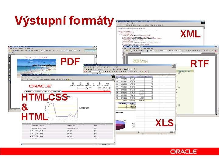 Výstupní formáty XML PDF HTMLCSS & HTML RTF XLS