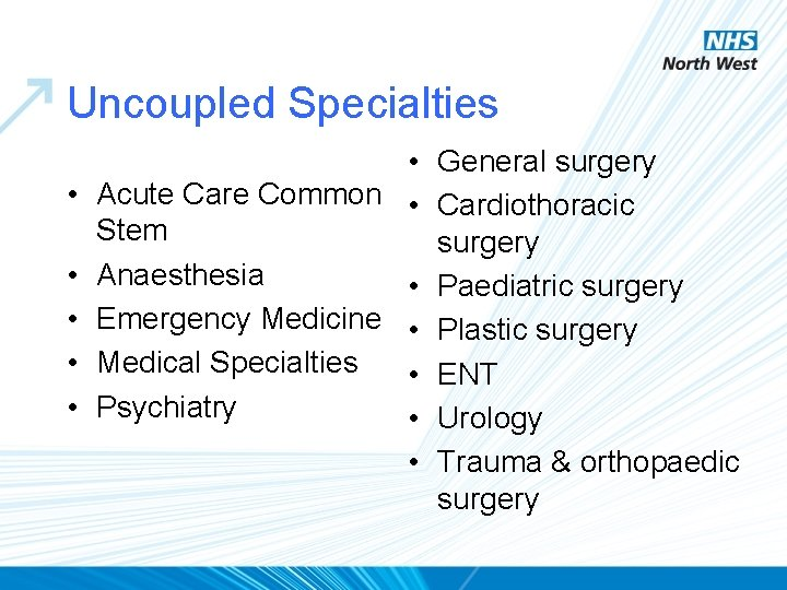 Uncoupled Specialties • • • General surgery Acute Care Common • Cardiothoracic Stem surgery