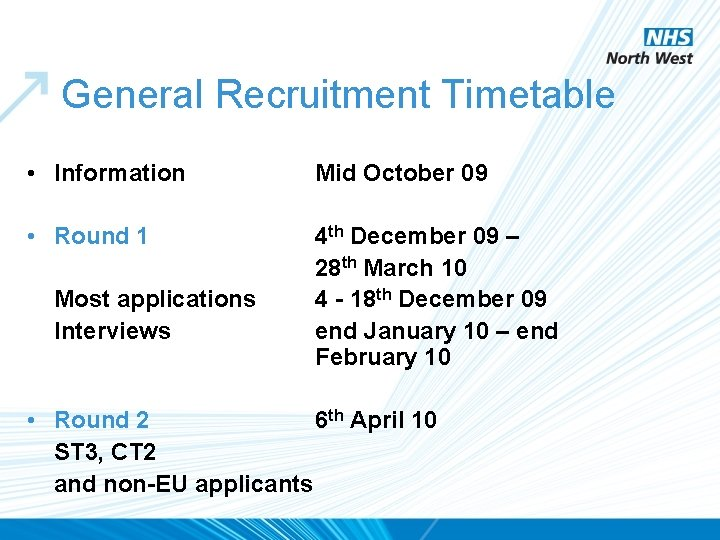 General Recruitment Timetable • Information Mid October 09 • Round 1 4 th December
