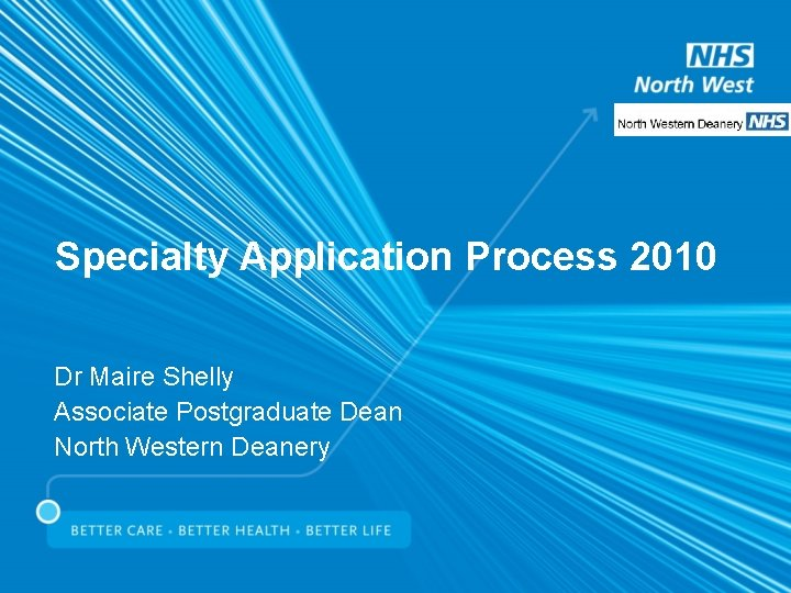 Specialty Application Process 2010 Dr Maire Shelly Associate Postgraduate Dean North Western Deanery
