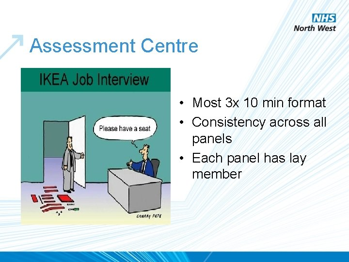 Assessment Centre • Most 3 x 10 min format • Consistency across all panels